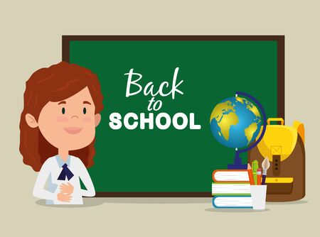 girl with blackboard and books and backpack and global map to back to school vector illustration Ilustração