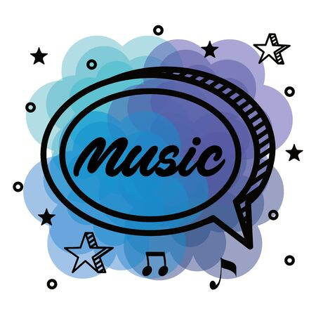 chat bubble message to melody rhythm to music style vector illustration