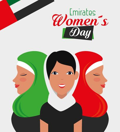 happy womens event with tradional flag to emirates womens day, vector illustration 일러스트