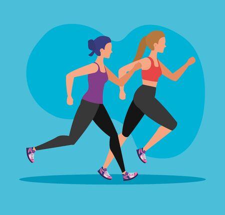 women running exercise sport activity over blue background, vector illustration  イラスト・ベクター素材