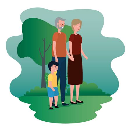 old woman and man with casual clothes and grandson to family together, vector illustration Banco de Imagens - 139859332