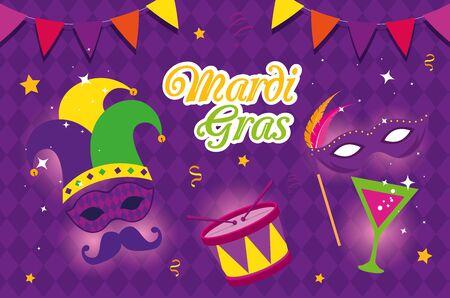 Mardi gras maschera tamburo e cocktail design, festa carnevale decorazione celebrazione festival vacanza divertimento new orleans e tema tradizionale illustrazione vettoriale Vettoriali