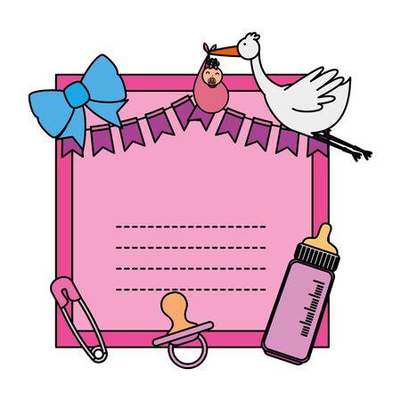 baby shower card with clothespin ans stork vector illustration design Иллюстрация