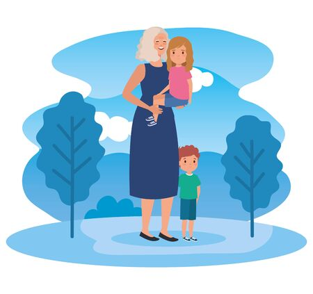 cute granddaughter with her granddaughter and grandson kids in the landscape, vector illustration