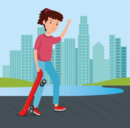 girl in the urban park with skateboard sport with building cityscape vector illustration 일러스트