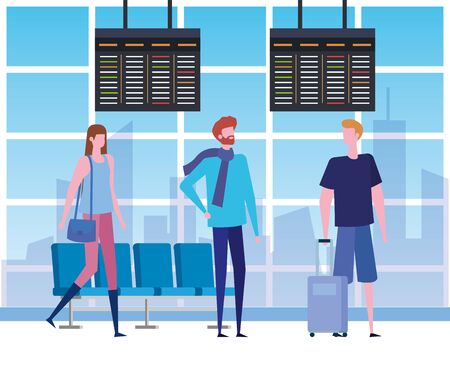 men and woman in the waiting room with chairs and screens to travel service, vector illustration