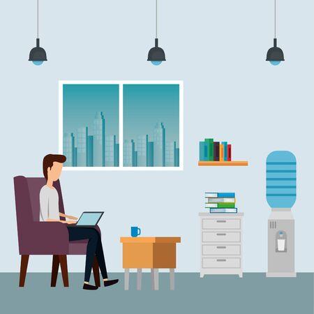 elegant businessman worker in the sofa vector illustration design