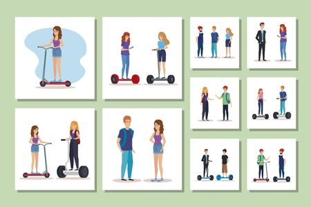 bundle of young people in electric skateboards vector illustration design