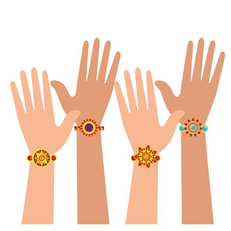 hands with bohemian style bracelets vector illustration design