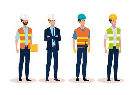 Groupe d'hommes ingénieur avec conception d'illustration vectorielle sécurisée casque Vecteurs