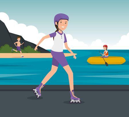 girl practice roller skates fitness activity to summer sport vector illustration