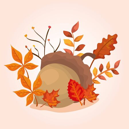 nut with leaves of autumn vector illustration design