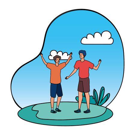 young men friends in the landscape vector illustration design