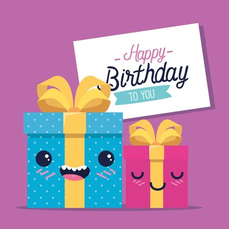 happy presents gifts with ribbon bow to happy bithday, vector illustration Illustration