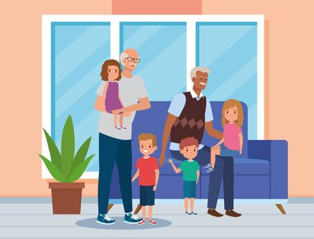 grandfathers with their cute boys and girls kids in the home, vector illustration Ilustração