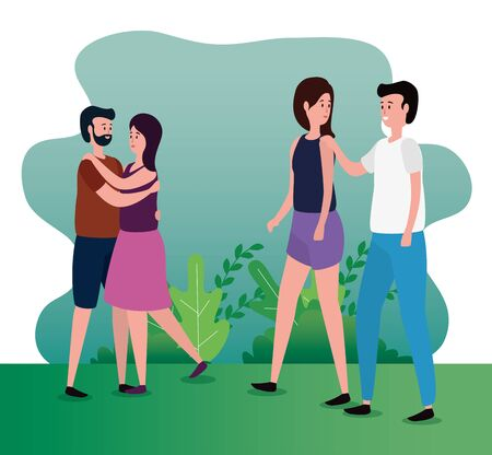 women and men couple together with casual clothes and bushes plants, vector illustration