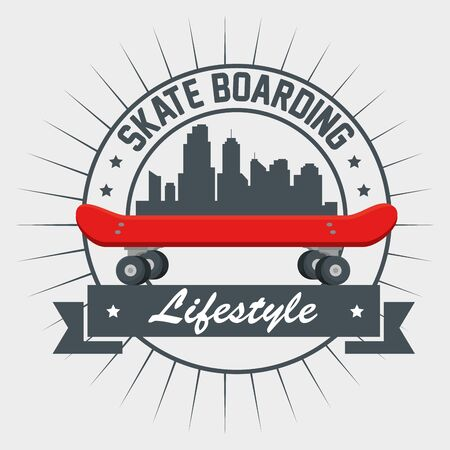 label of skateboard with citycape and ribbon emblem to extreme sport vector illustration