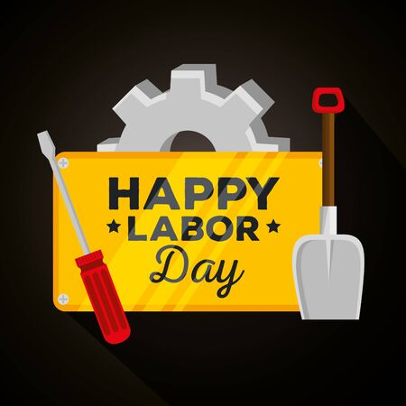 emblem with gear and shovel with screwdriver celebration of labor day, vector illustration Ilustrace