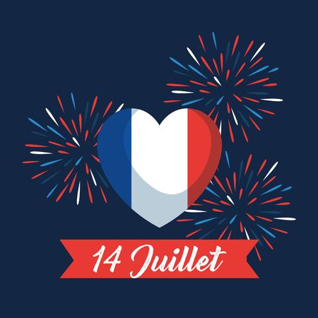 heart france flag with fireworks and ribbon to bastille celebration vector illustration