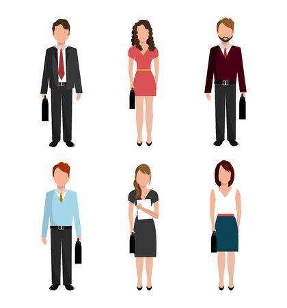 bundle of elegant business people vector illustration design