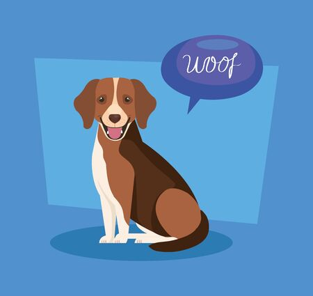 cute dog with speech bubble vector illustration design