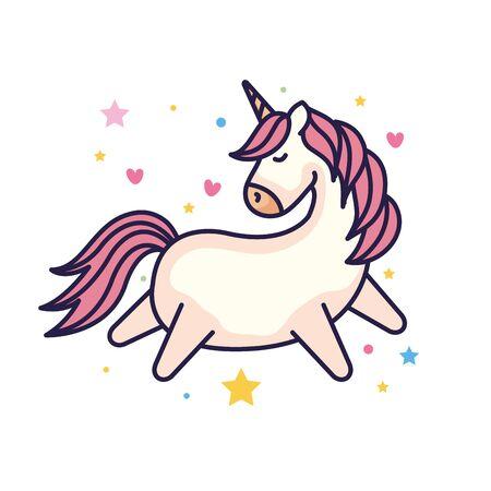 cute unicorn fantasy with hearts and stars decoration vector illustration design