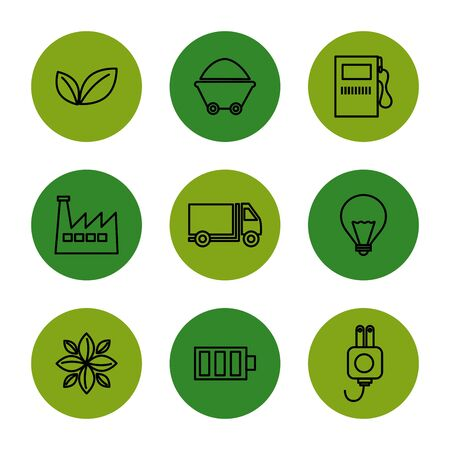 bundle of eco friendly and industrial set icons vector illustration design