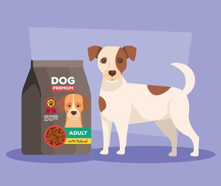 cute dog with bag food animal vector illustration design