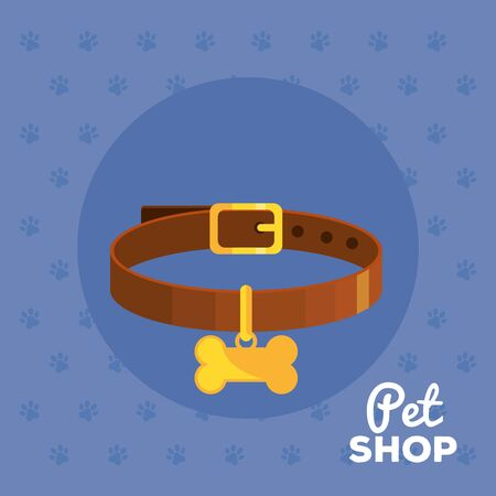 pet shop and necklace with bone vector illustration design  イラスト・ベクター素材