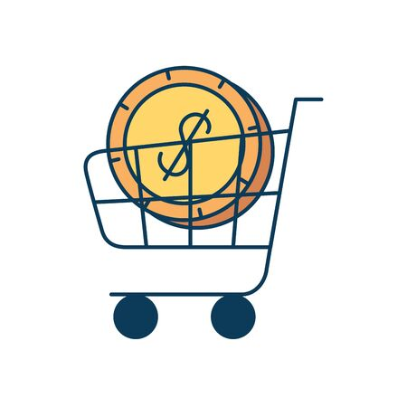 cart shopping with coin dollar isolated icon vector illustration design 向量圖像