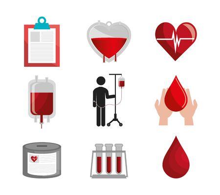 bundle of blood donation icons vector illustration design