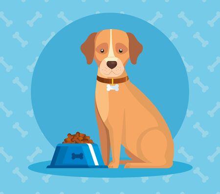 cute dog with dish food animal vector illustration design