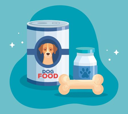 food of dog animal in can and icons vector illustration design