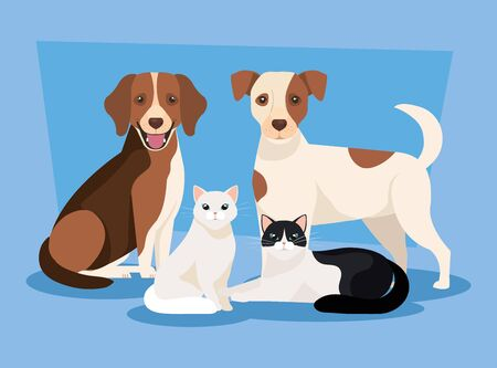 group of dogs with cats icons vector illustration design Illusztráció