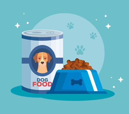 dish and can of food for animal dog vector illustration design