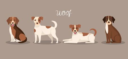 group of dogs animals icons vector illustration design 일러스트