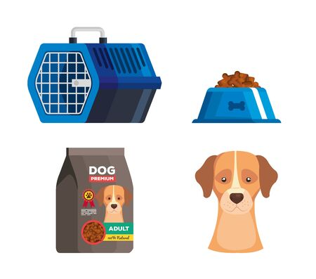 set icons of dog animal vector illustration design Ilustração