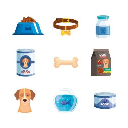 set icons of dog animal vector illustration design
