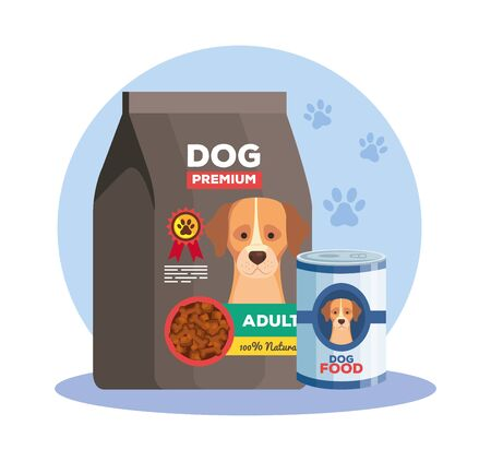 food of dog animal in can and bag vector illustration design