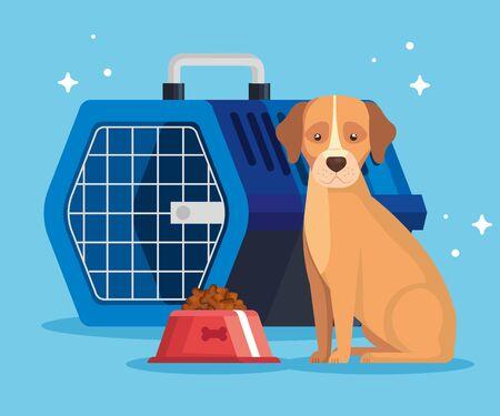 cute animal with dish food and box transport vector illustration design Ilustracja