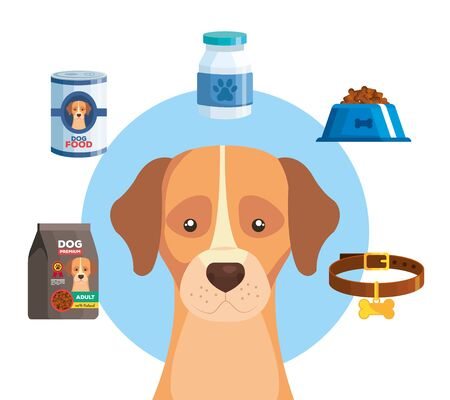 cute dog with set icons vector illustration design