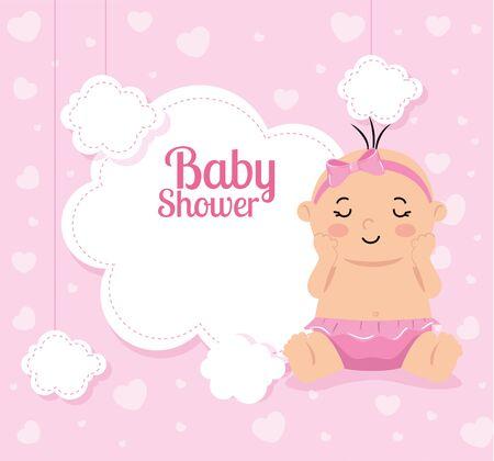 Tarjeta de baby shower con niña y decoración, diseño de ilustraciones vectoriales