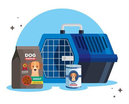 food and box transport of dog animal vector illustration design