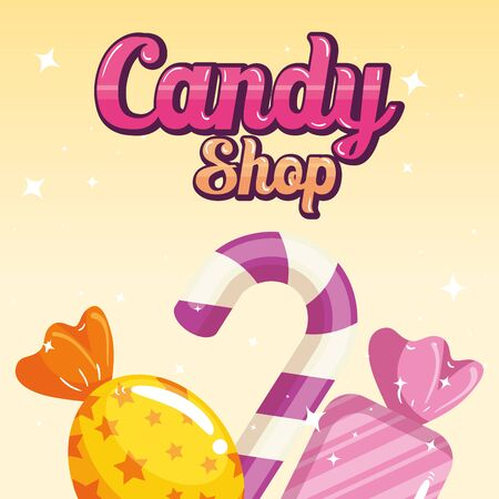 poster of candy shop with caramels vector illustration design  イラスト・ベクター素材