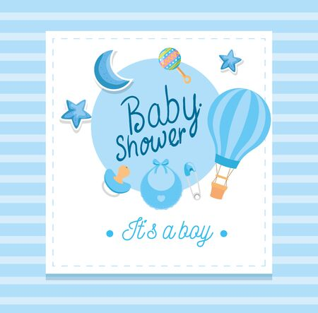 baby shower card with cute decoration vector illustration design