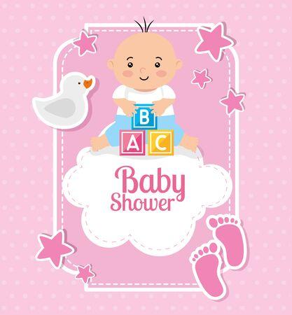 Tarjeta de baby shower con bebé y decoración, diseño de ilustraciones vectoriales