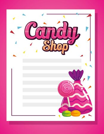 candy shop card with delicious caramels vector illustration design Zdjęcie Seryjne - 139910732