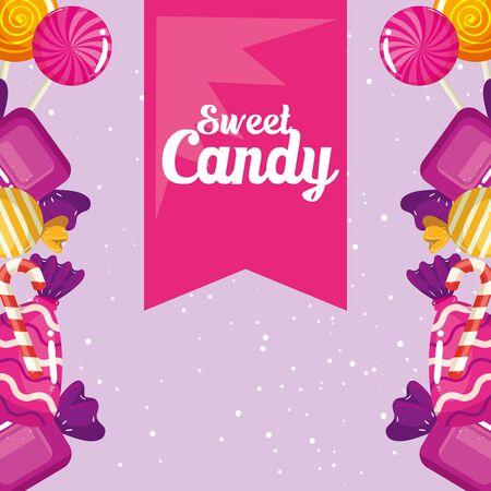 poster of candy shop with frame caramels vector illustration design