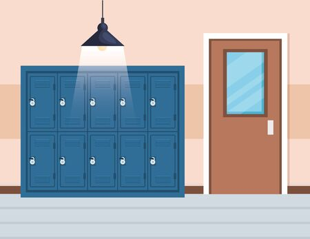 lockers elementary education and classroom door to back to school vector illustration