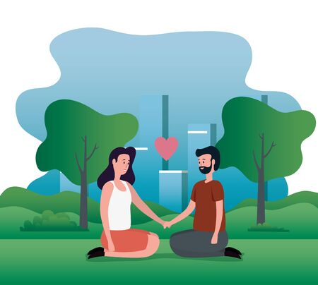 woman and man in love couple sitting with heart and trees with mountains, vector illustration